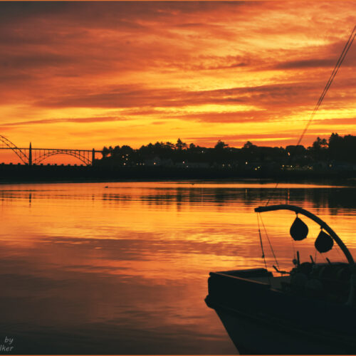 Fire On The Bay  Sunset in Newport Oregon